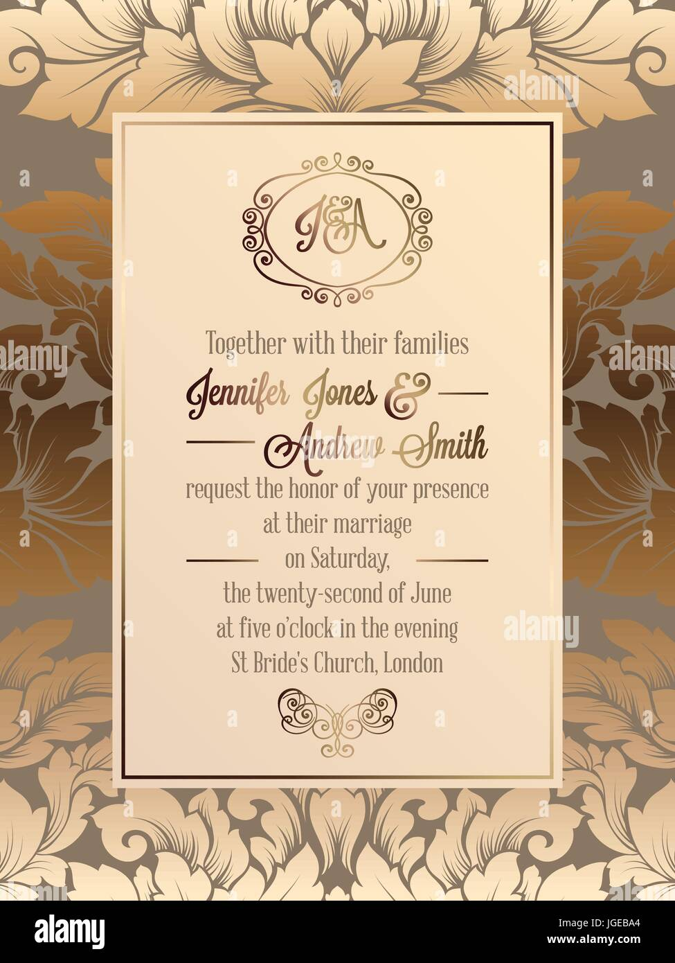 Vintage baroque style wedding invitation card template elegant vintage baroque style wedding invitation card template elegant formal design with damask background traditional decoration for wedding stopboris Gallery