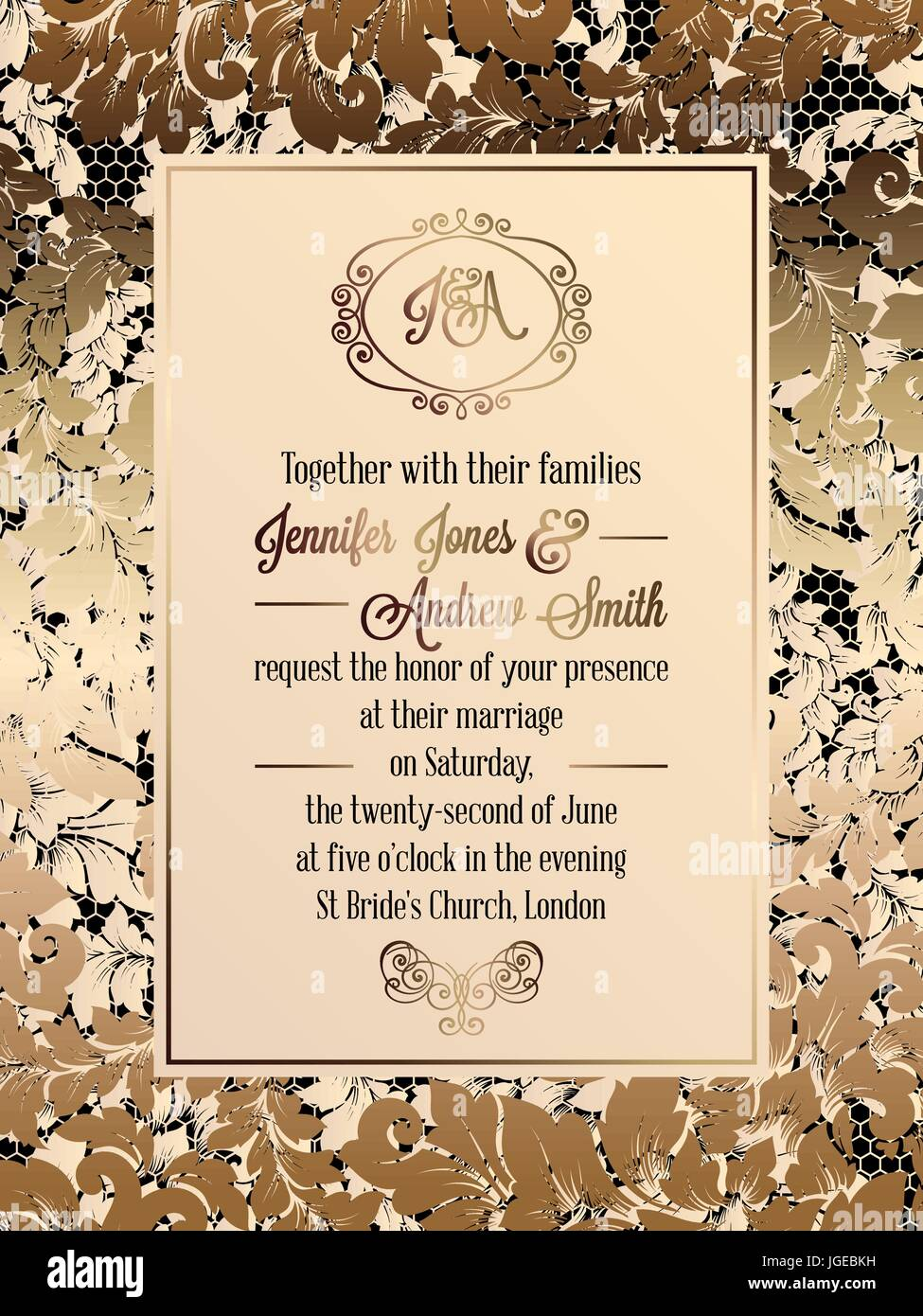 Vintage baroque style wedding invitation card template elegant vintage baroque style wedding invitation card template elegant formal design with damask background traditional decoration for wedding gold on bla stopboris Gallery