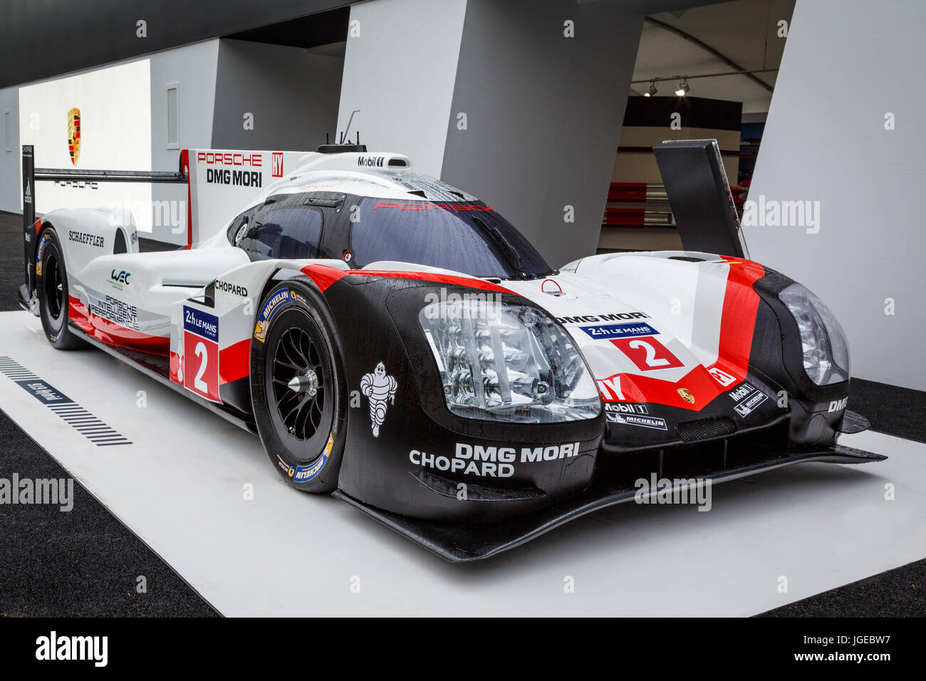 Porsche 919 Hybrid LMP1 Le Mans race winner on display at the 2017 Goodwood  Festival of Speed, Sussex, UK.