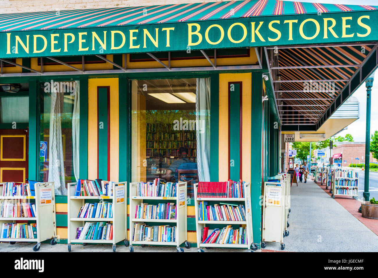 Harrisburg, USA - May 24, 2017: Independent bookstores sign and building with books in Pennsylvania capital city - Stock Image