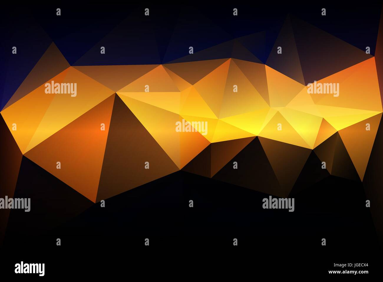 Blue Yellow Orange Black Abstract Low Poly Geometric