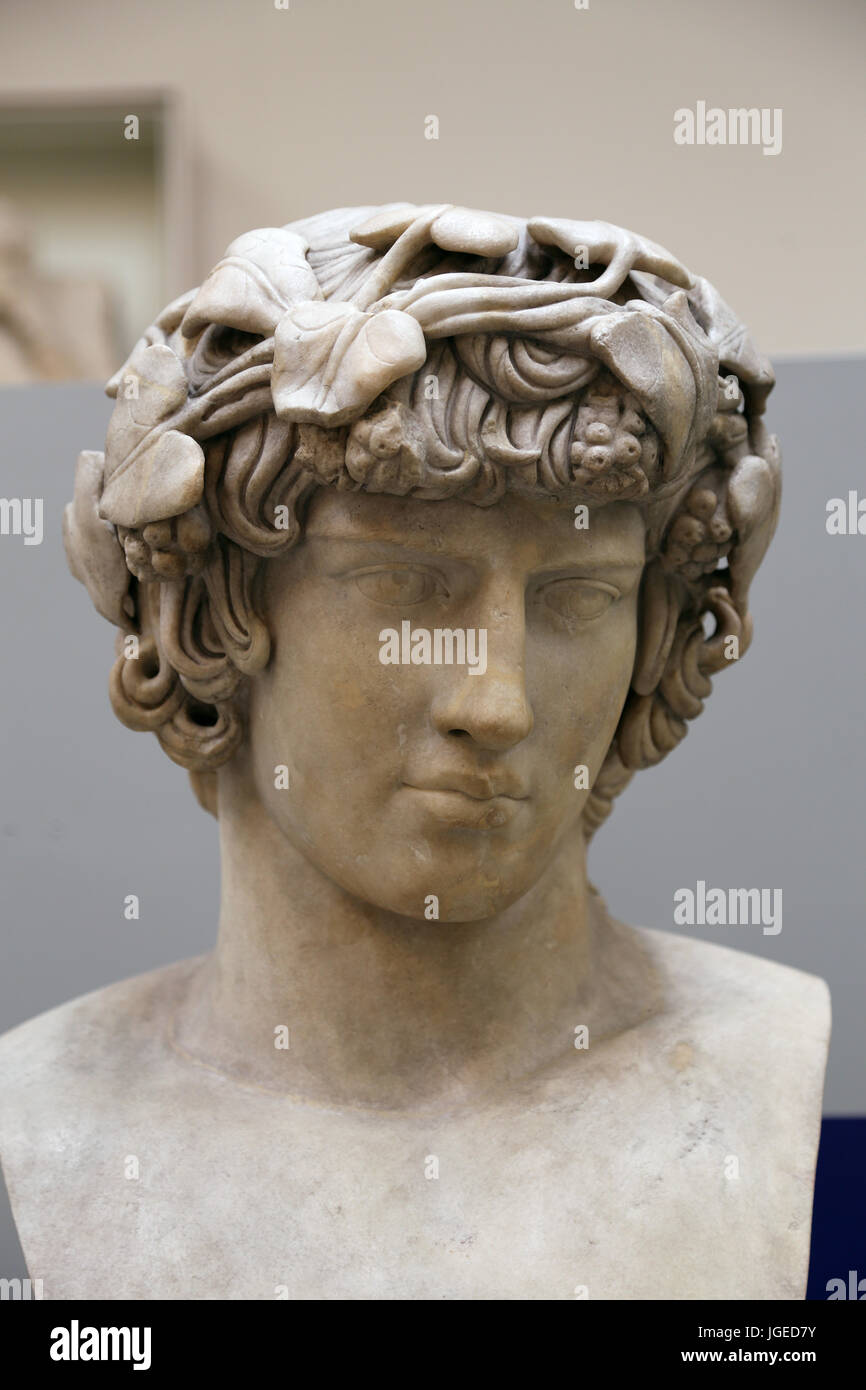 Antinous (111-130). Bithynian Greek youth and favourite, or lover of emperor Hadrian. Bust, from Rome. British Museum. - Stock Image