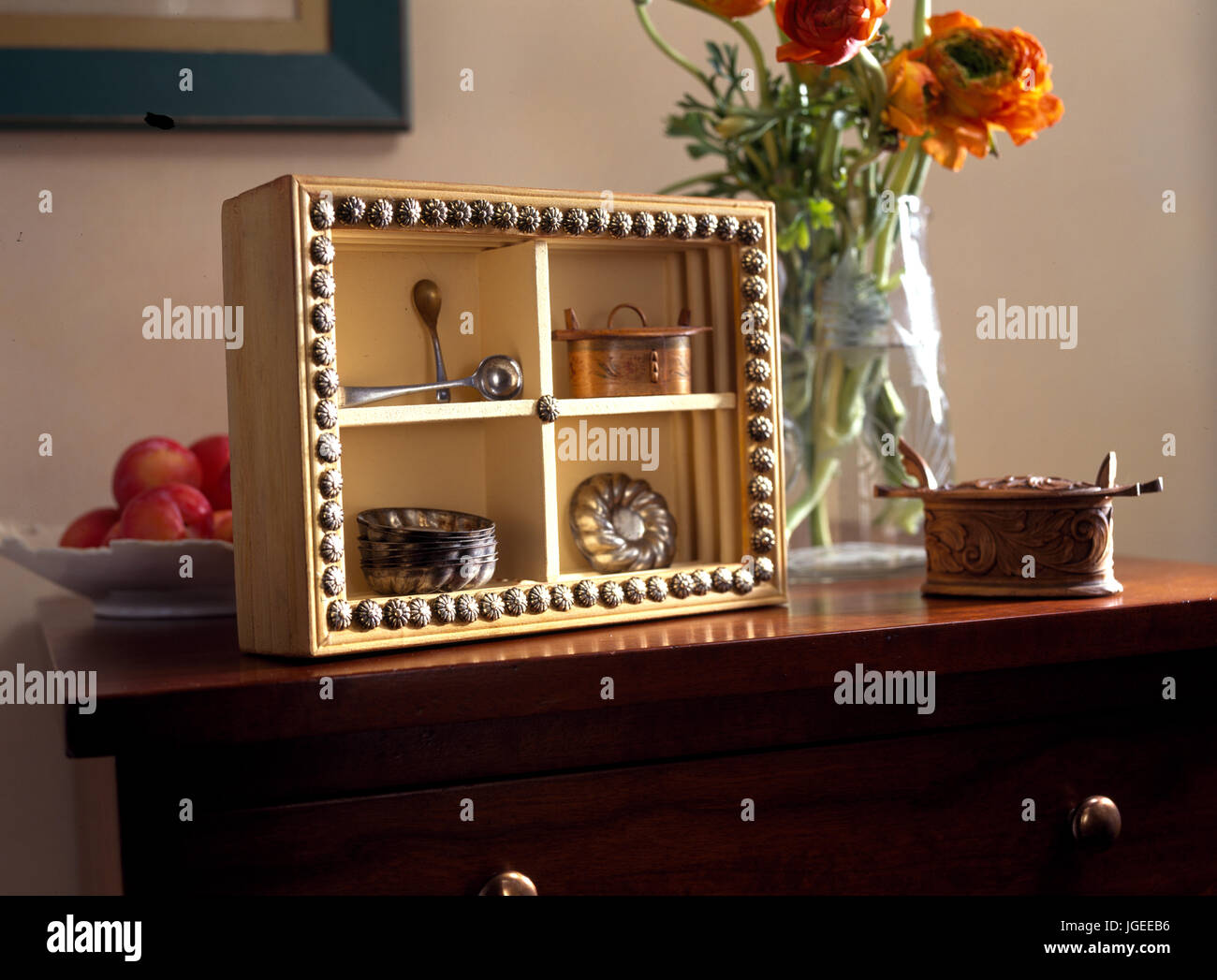 Box frame with treasured objects - Stock Image