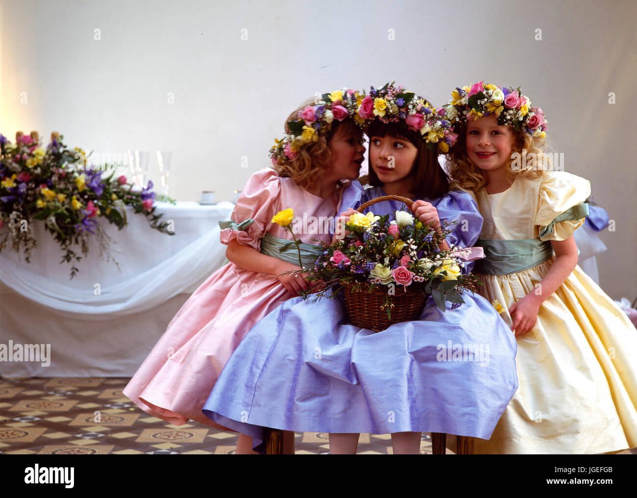 Bridesmaids at a summer wedding Stock Photo