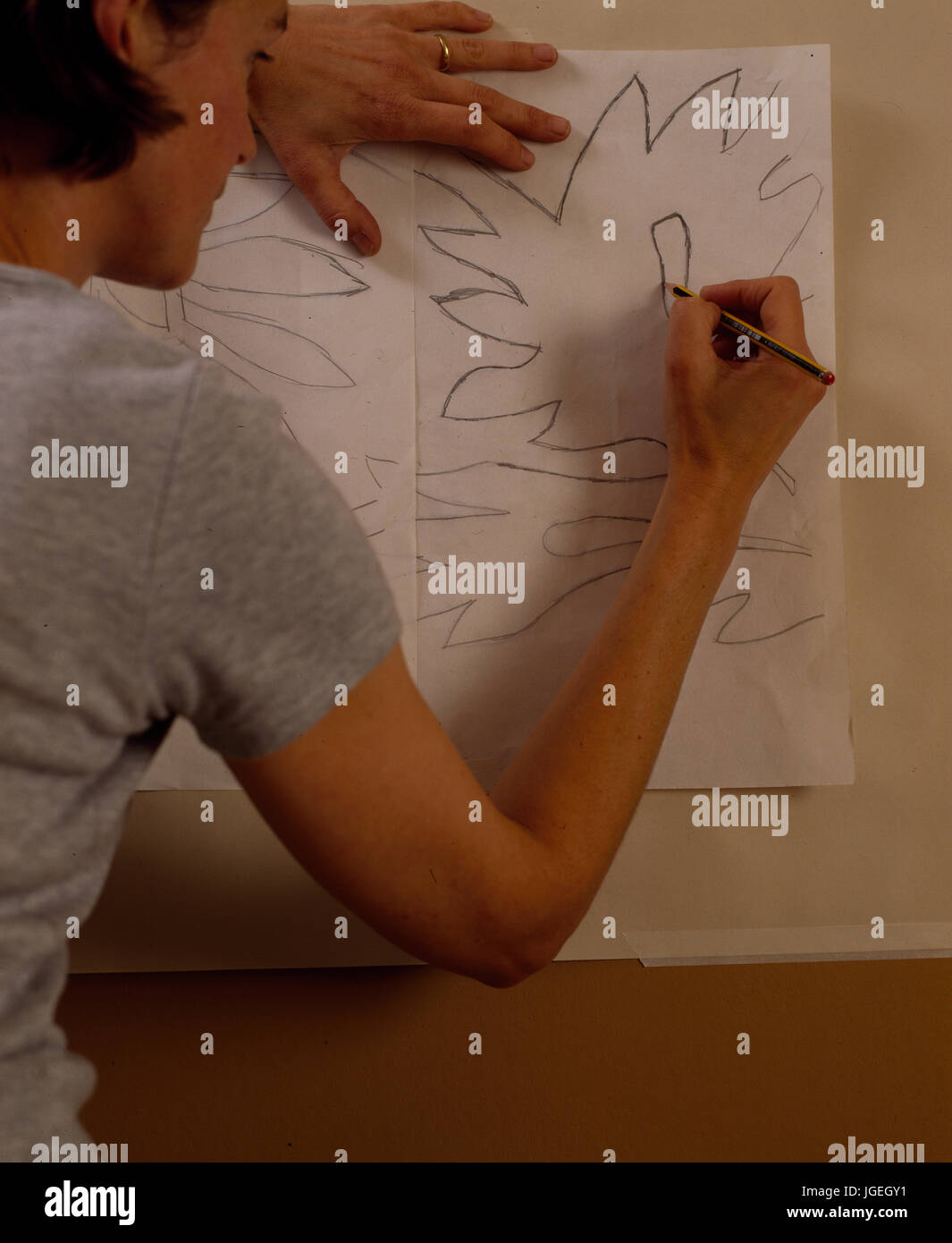 Woman tracing design for wallpaper frieze - Stock Image