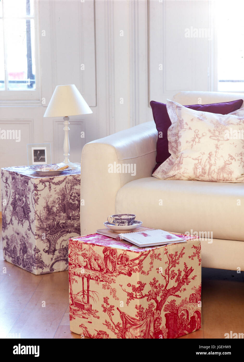 corner of modern livingroom with toile de jouy covered stool and stock photo 147838805 alamy. Black Bedroom Furniture Sets. Home Design Ideas