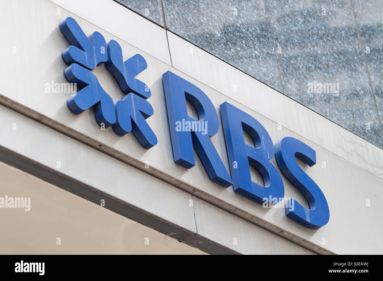 Close-up view of the Royal Bank of Scotland (RBS) brand name with logo in London Stock Photo