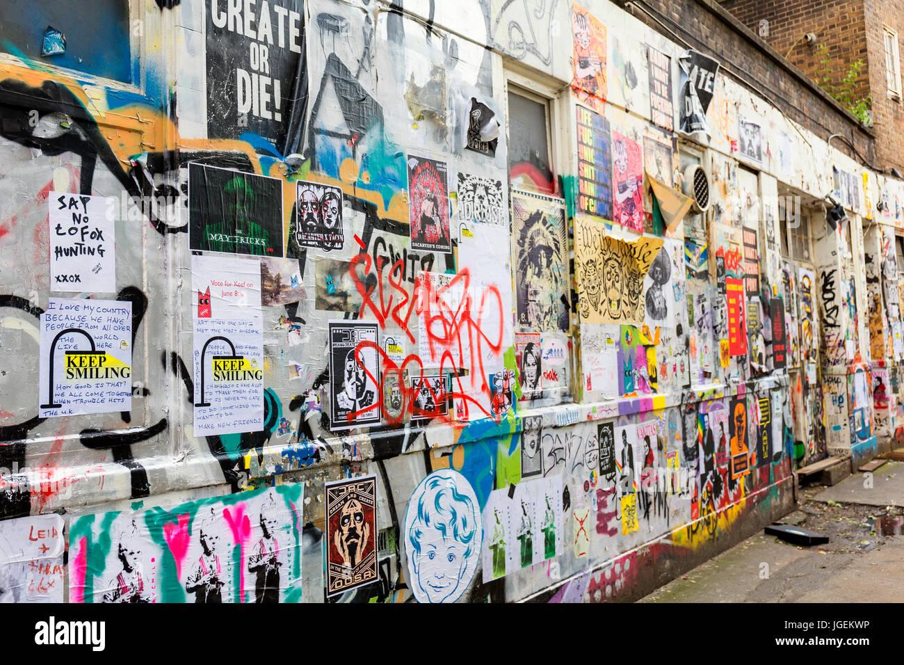 Graffiti wall near Brick Lane in Tower Hamlets London - Stock Image