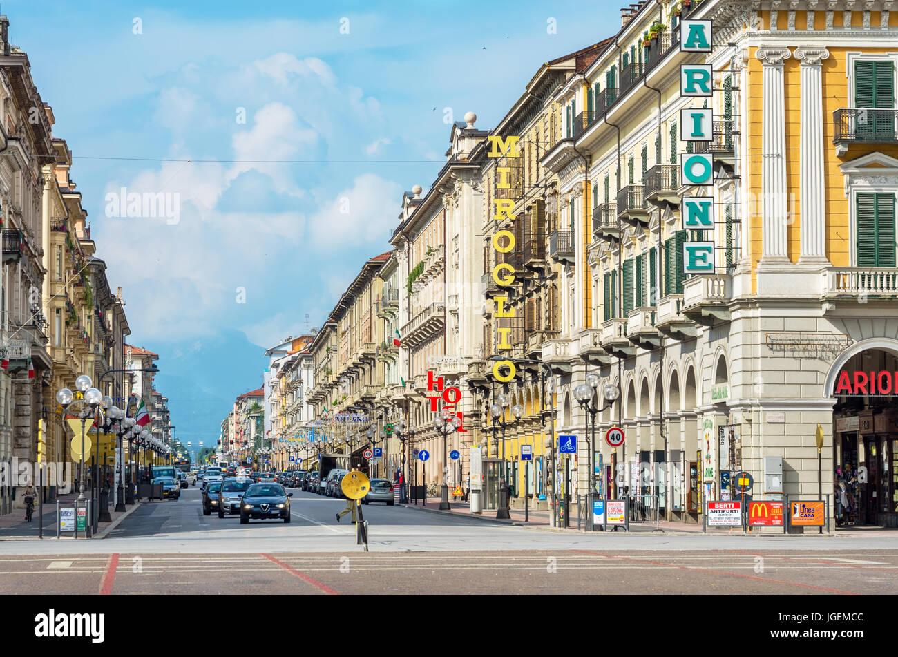 View along Corsa Nizza street toward Alps. Cuneo, Italy - Stock Image
