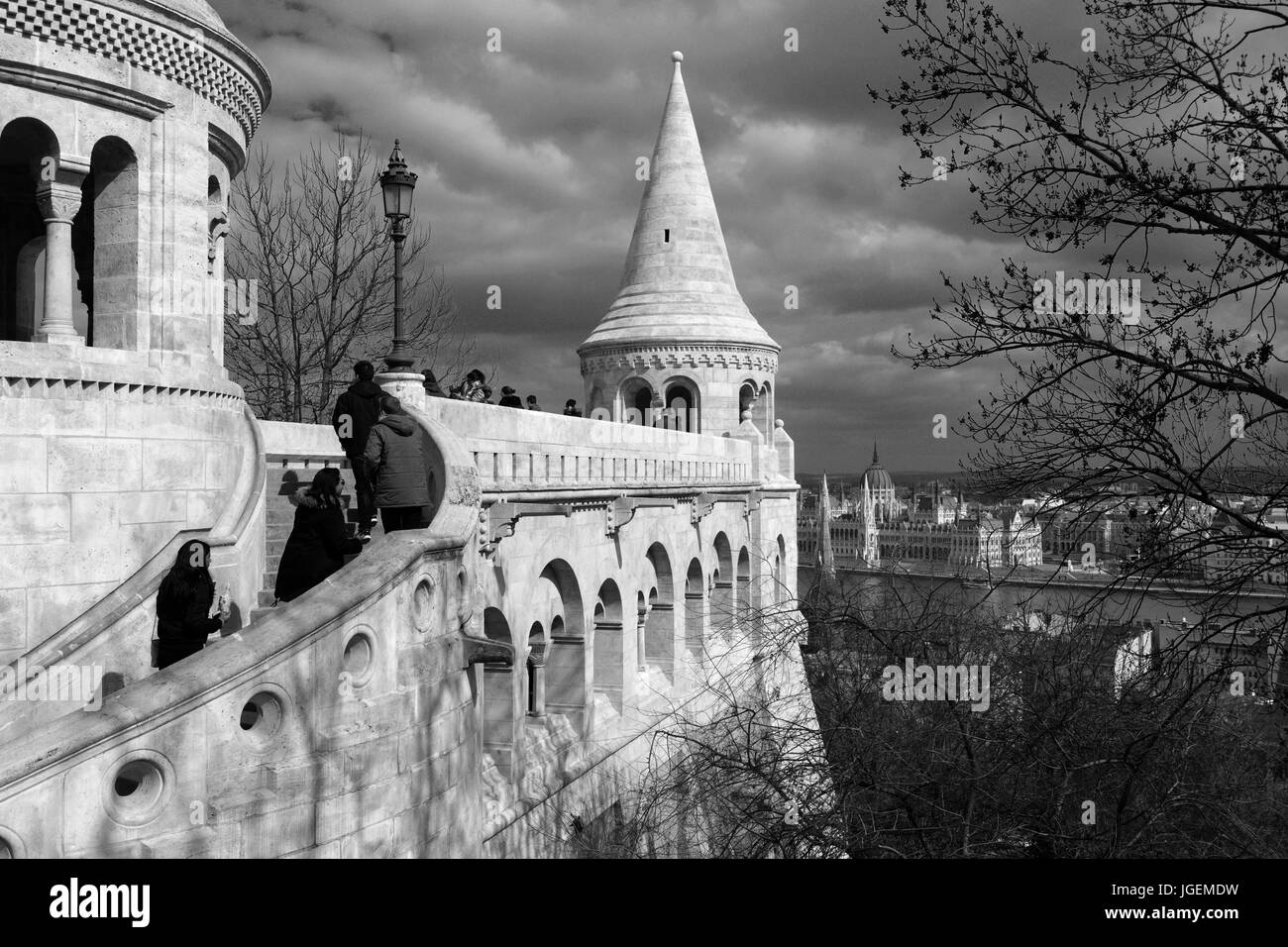 The Fishermans Bastion, Castle Hill, Buda Palace, Budapest city, Hungary - Stock Image
