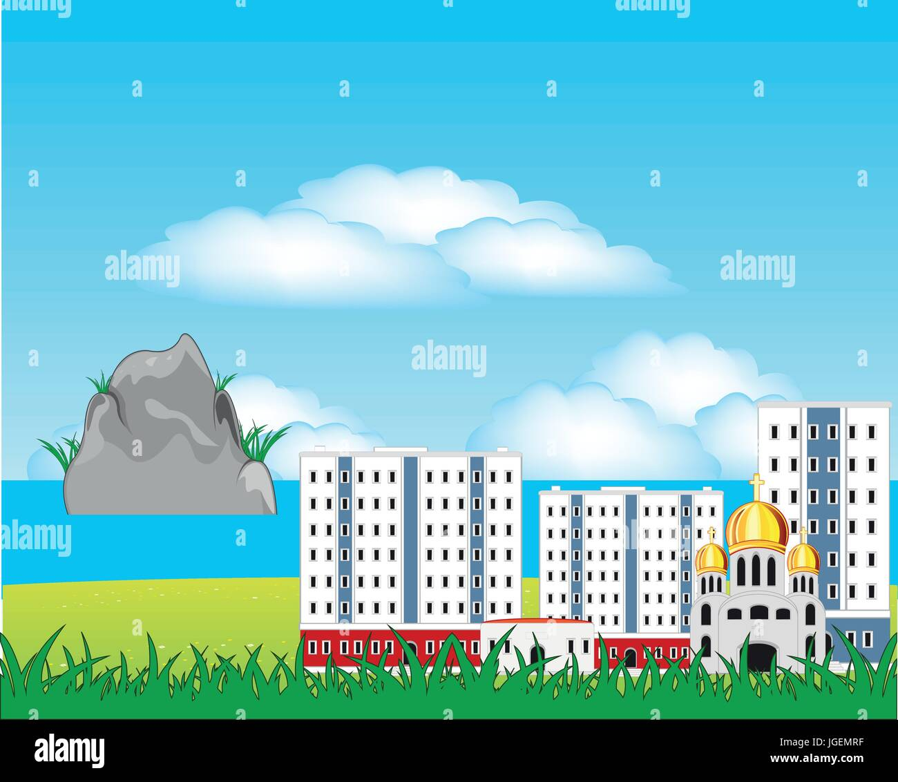 City beside epidemic deathes - Stock Vector