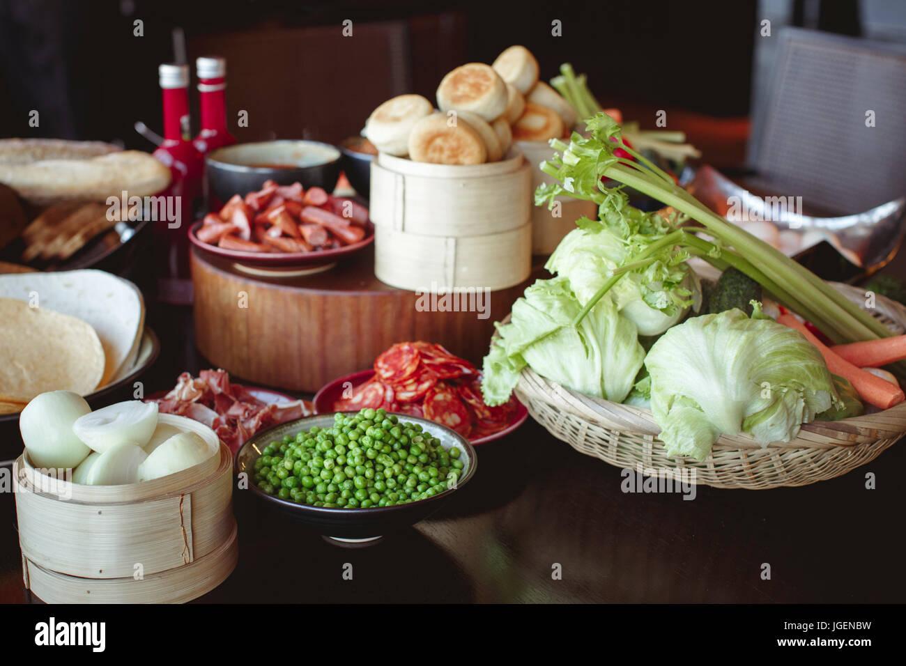 Fresh tasty food on table - Stock Image