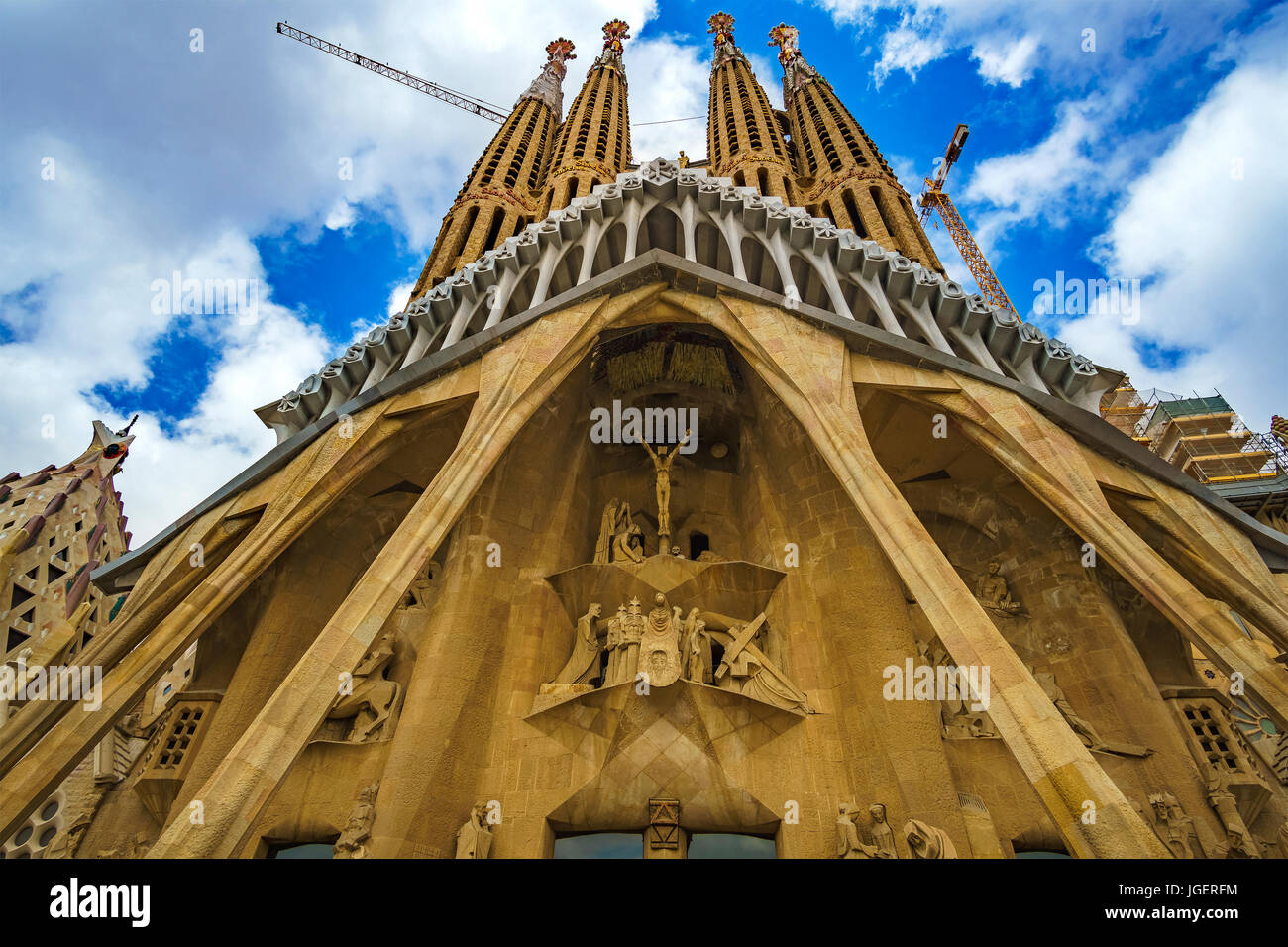 Sagrada Família (Basilica Church of the Holy Family) is a large Roman Catholic church in Barcelona, designed - Stock Image