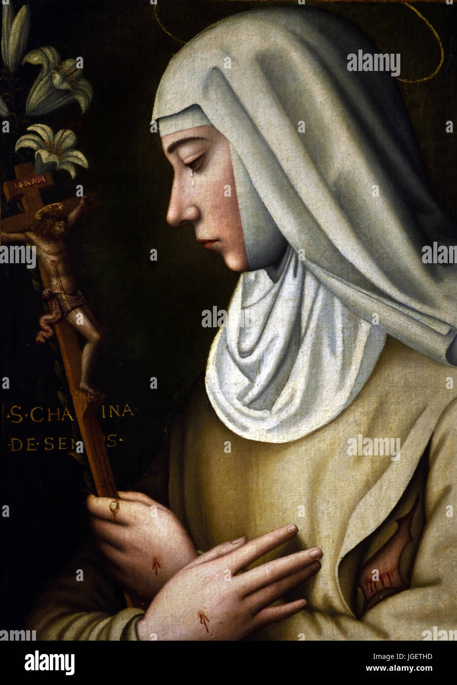 St Catherine of Sienna de Ricci by Sister by Plautilla Nelli (1524–1588) was a self-taught nun-artist and the first - Stock Image