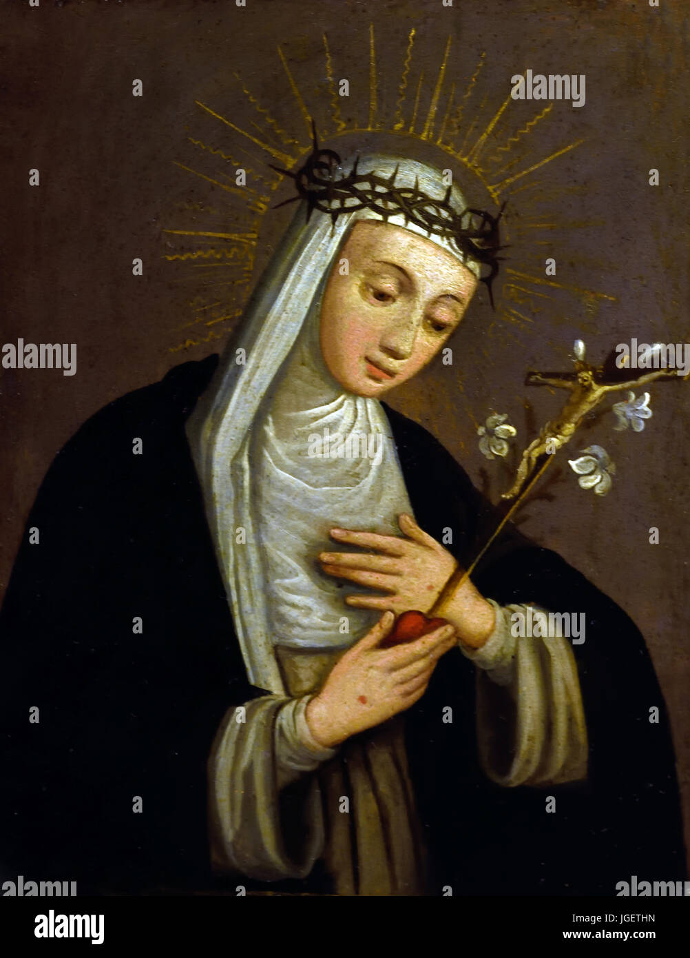 St. Catherine of Siena  - by Sister Plautilla Nelli (1524–1588) was a self-taught nun-artist and the first-known - Stock Image