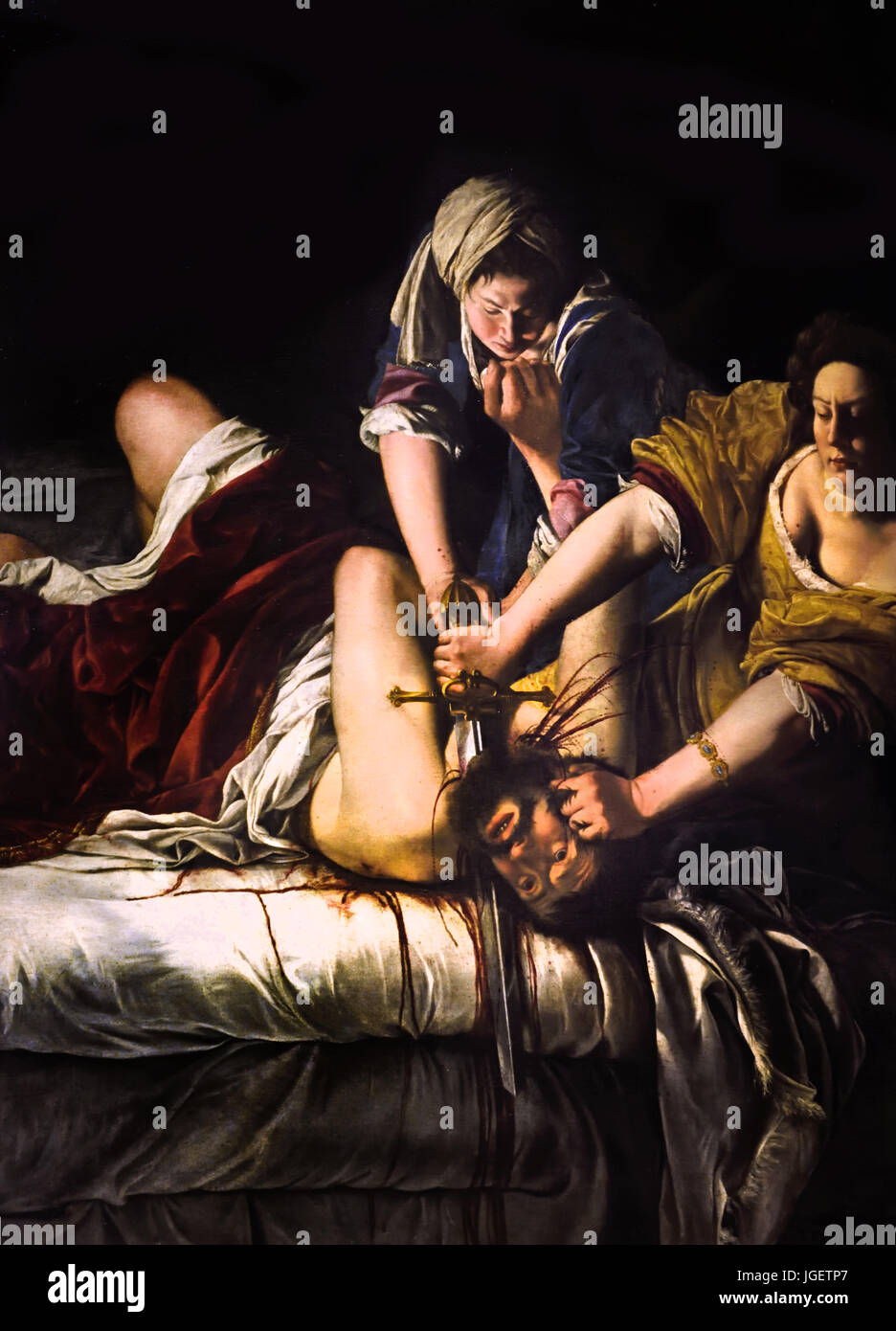 Judith Slaying Holofernes by the Italian Baroque artist Artemisia Gentileschi  1614–20 The work shows the scene - Stock Image