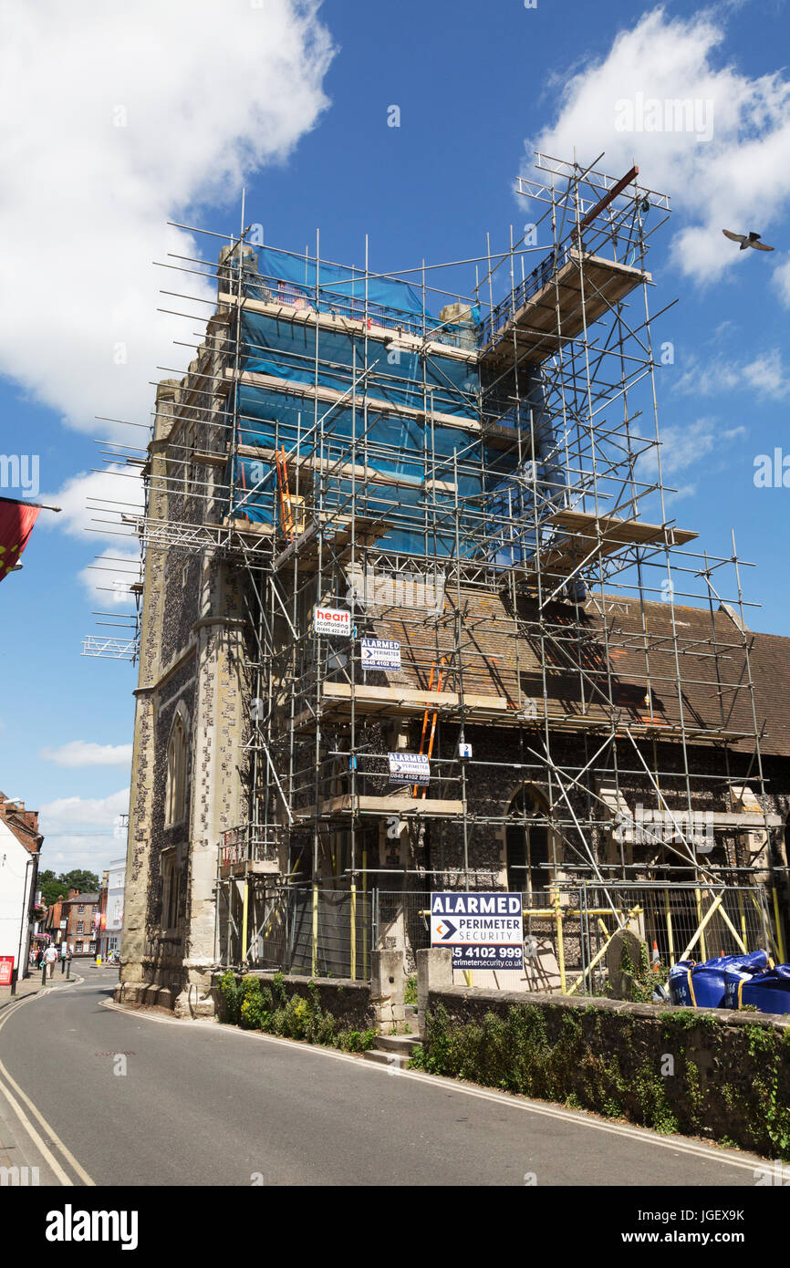 Church repairs UK - scaffolding around the tower of St. Marys church, Wallingford, Oxfordshire England UK - Stock Image