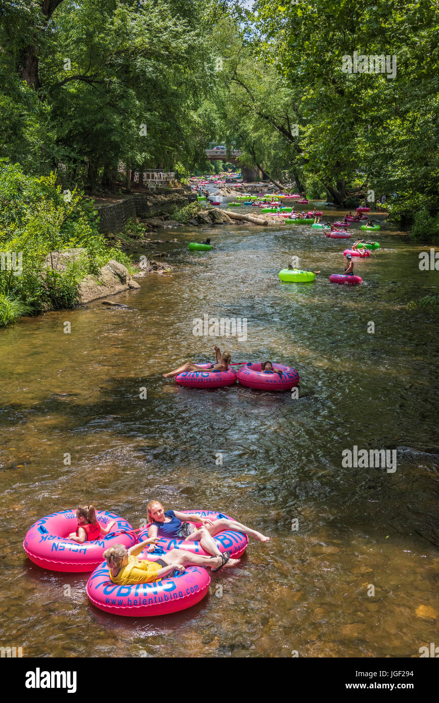 Tubing on the Chattahoochee River in Helen, Georgia. - Stock Image