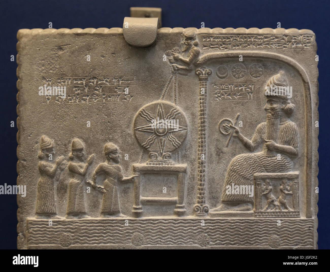 Sun God tablet. King Nabu-apla-iddina celebrates installation statue of Shamash god. 860-850 BC. Sippar, Iraq. British - Stock Image