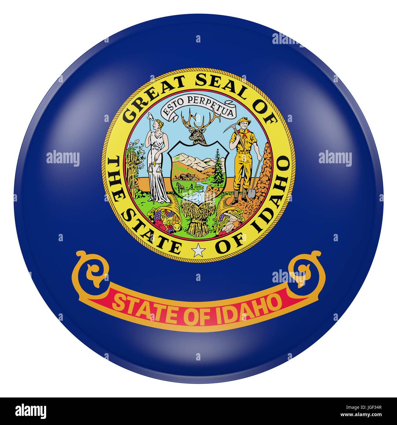 3d rendering of Idaho State flag on a button - Stock Image