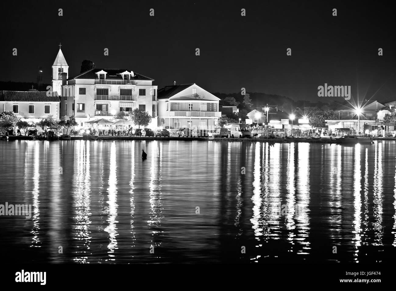 Sukosan Adriatic village evening black and white view, Dalmatia region of Croatia - Stock Image