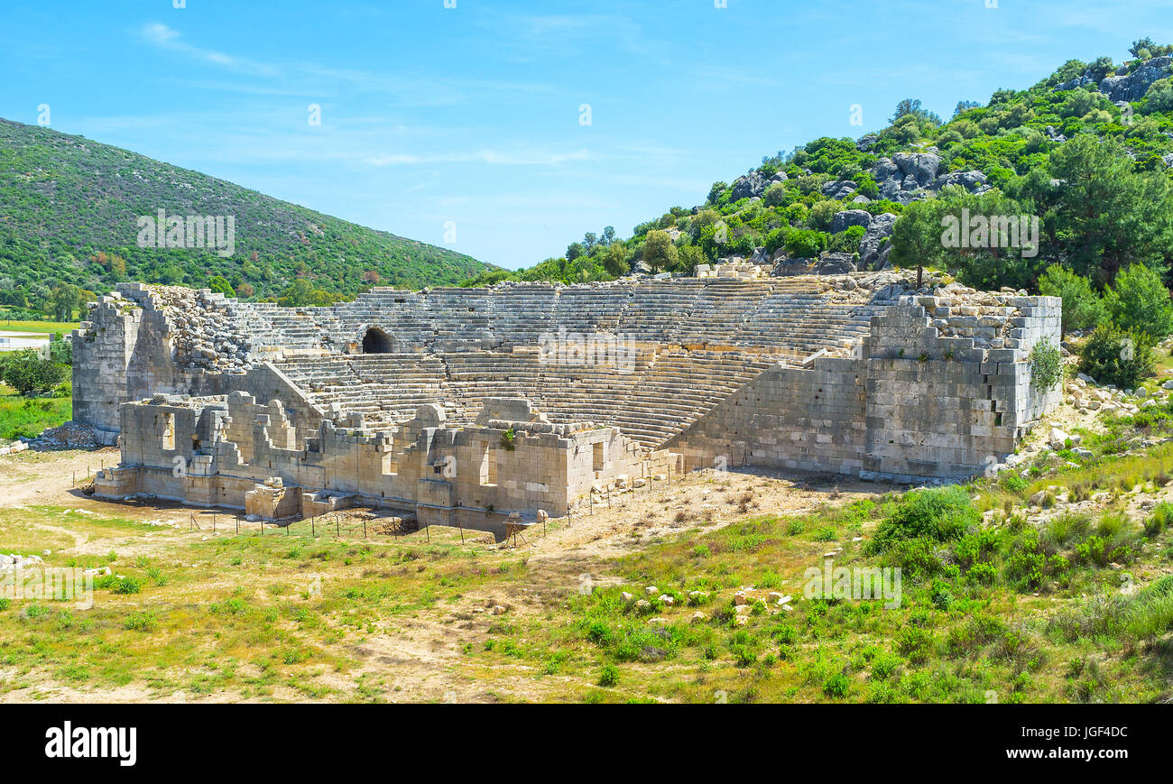 The old ruined amphitheater of Patara, Turkey - Stock Image