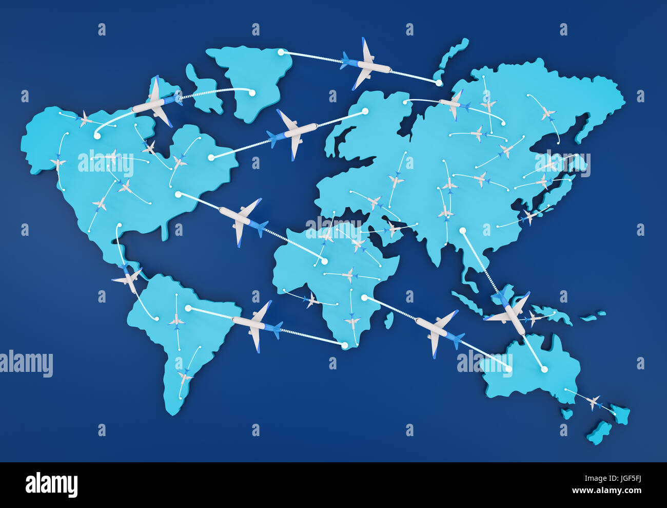 3d rendering flight route with world map
