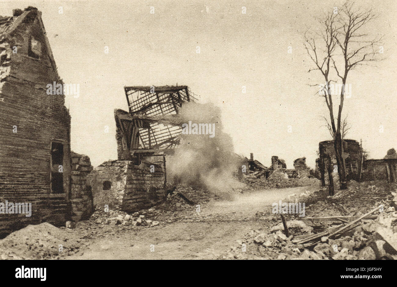 German shell exploding in French village - Stock Image