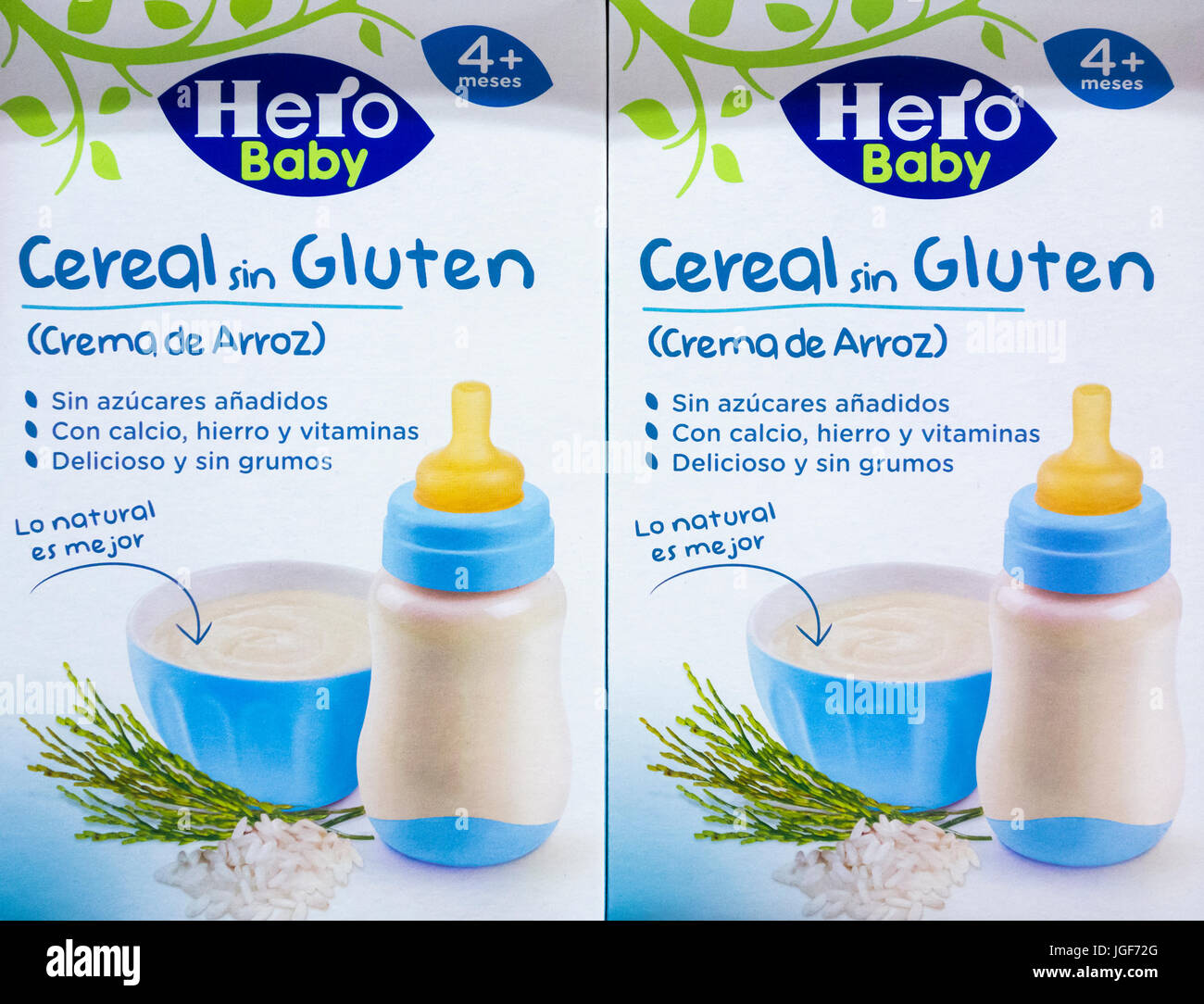 Gluten free (sin gluten in Spanish) Hero brand baby food in Spanish supermarket. - Stock Image