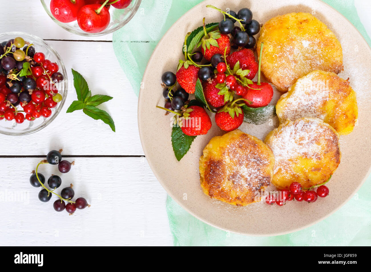 Pleasing Golden Cottage Cheese Pancakes With Fresh Berries On A Plate Download Free Architecture Designs Rallybritishbridgeorg