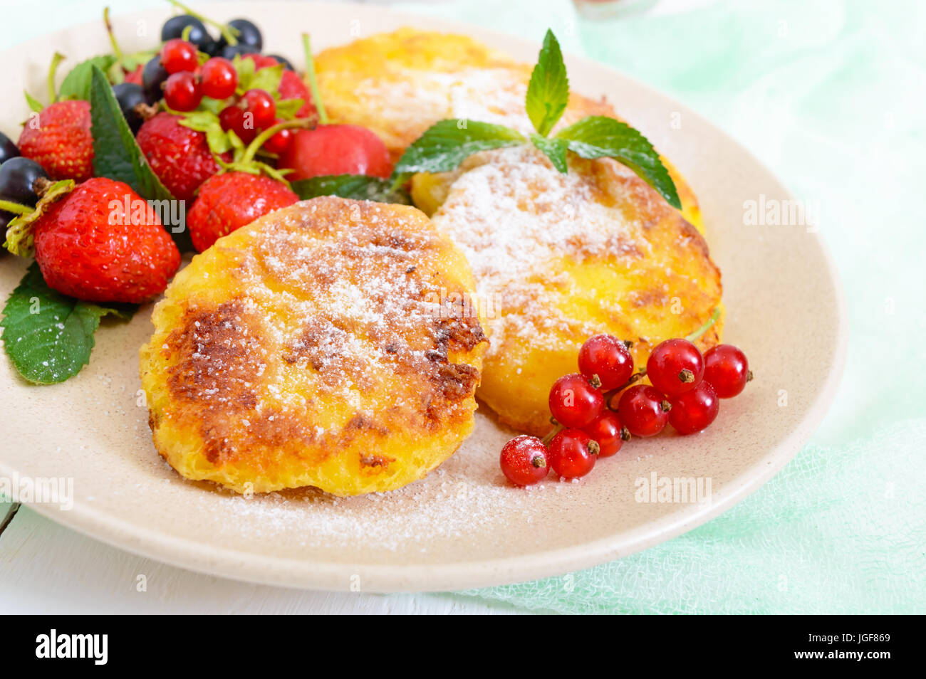 Stupendous Golden Cottage Cheese Pancakes With Fresh Berries On A Plate Download Free Architecture Designs Rallybritishbridgeorg