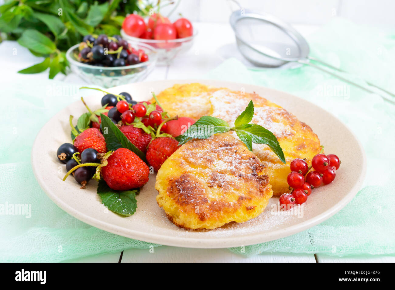 Swell Golden Cottage Cheese Pancakes With Fresh Berries On A Plate Download Free Architecture Designs Rallybritishbridgeorg