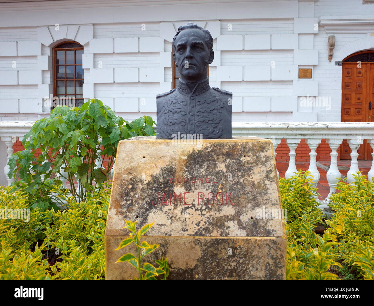 18TH JUNE 2017, PAIPA, COLOMBIA - A bronze bust of James Rooke, commander of the British Legion who helped Simon Stock Photo