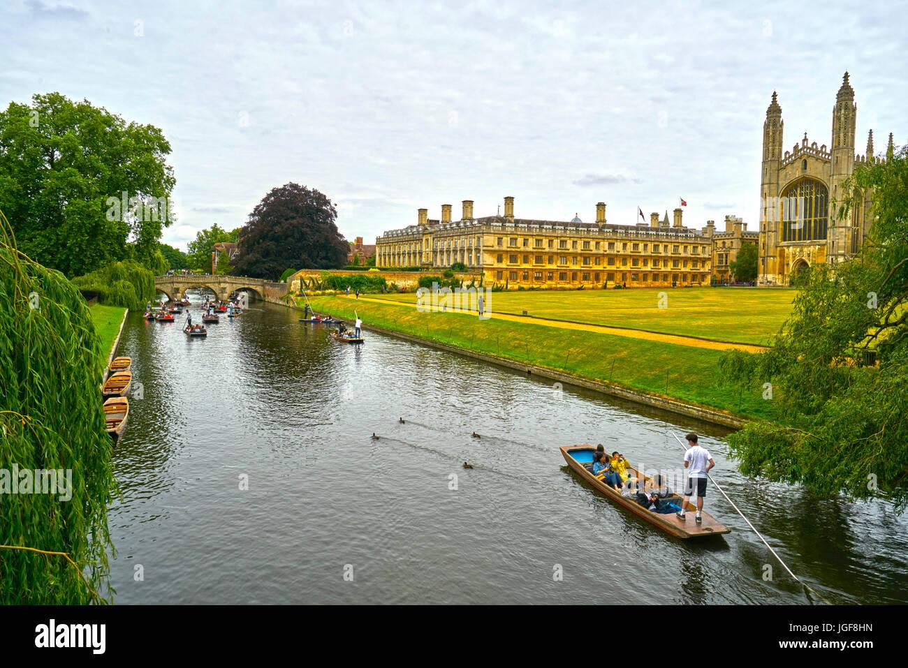 kings college cambridge  punts - Stock Image