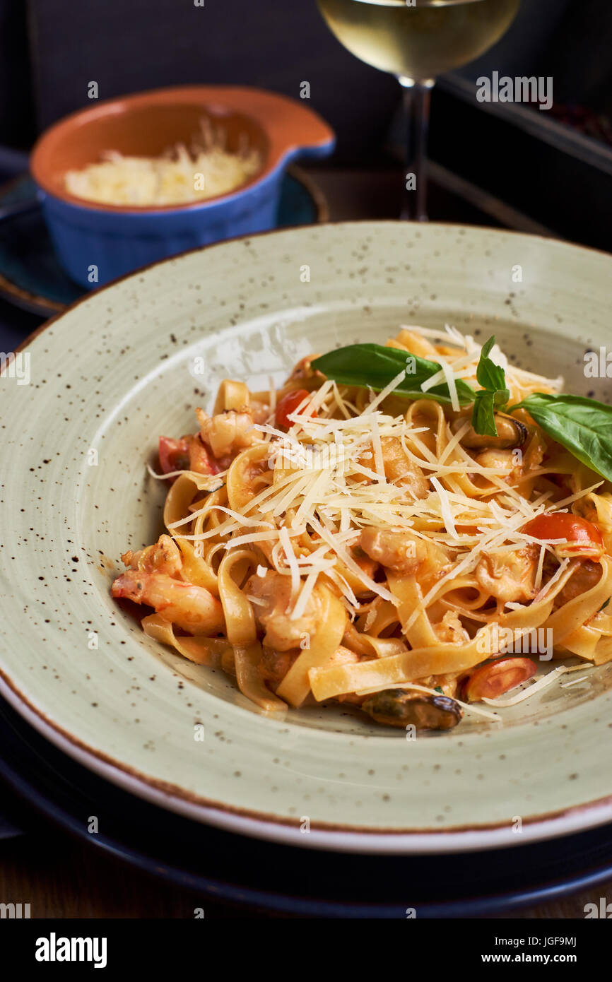 Tagliatelle with prawns and spices Stock Photo