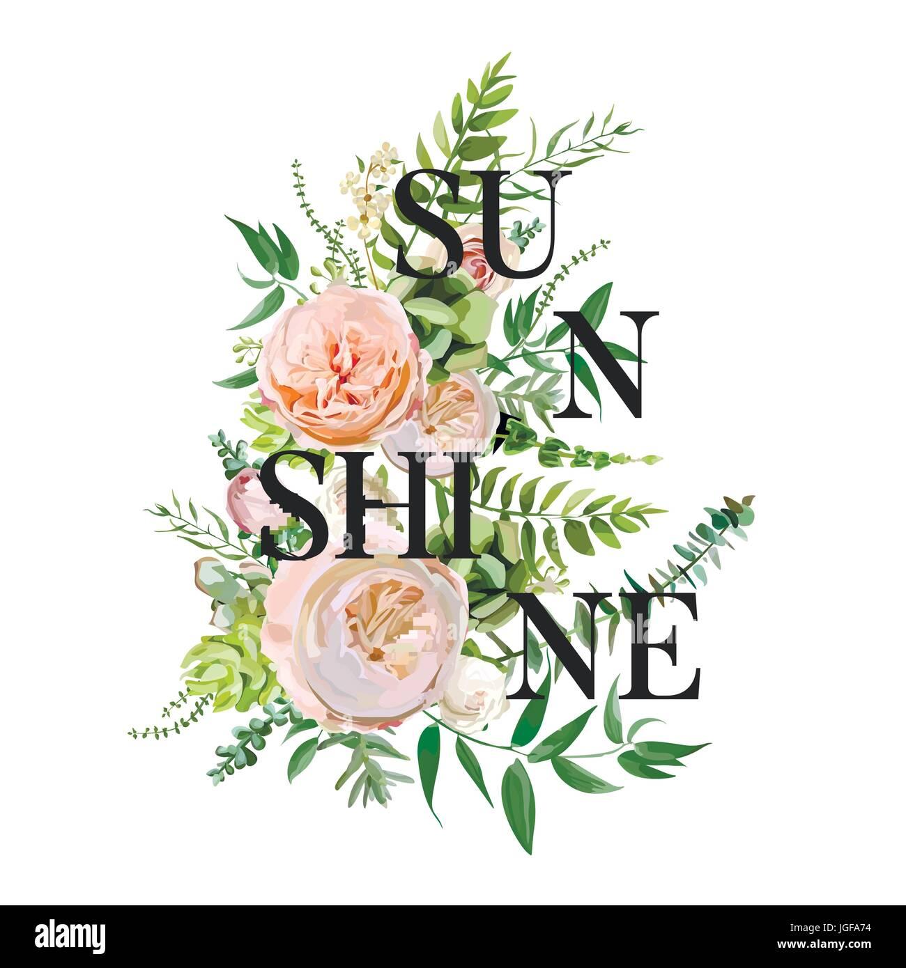 Vector floral design vertical card. Succulent cactus flower garden ...