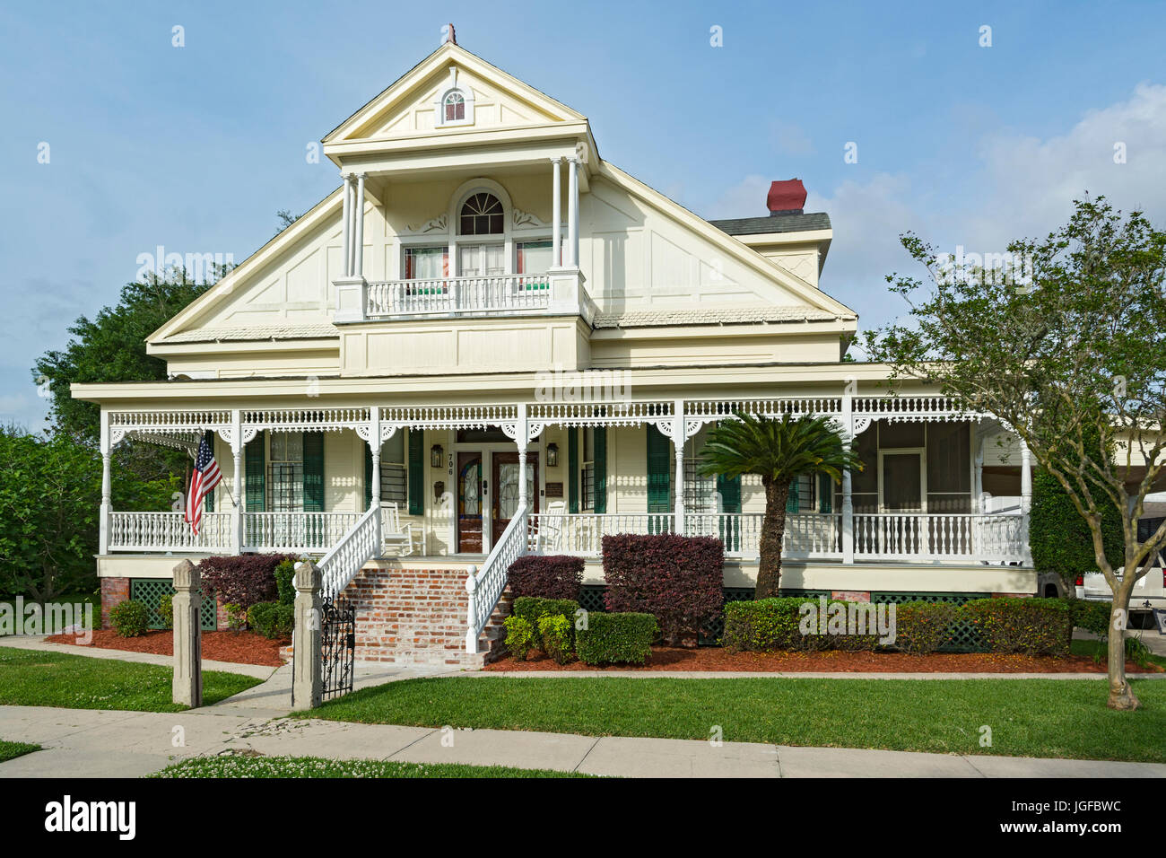 "Louisiana, St. Mary Parish, Morgan City, Historic District, ""Adele"" 706 First St., private residence, built 1902 Stock Photo"