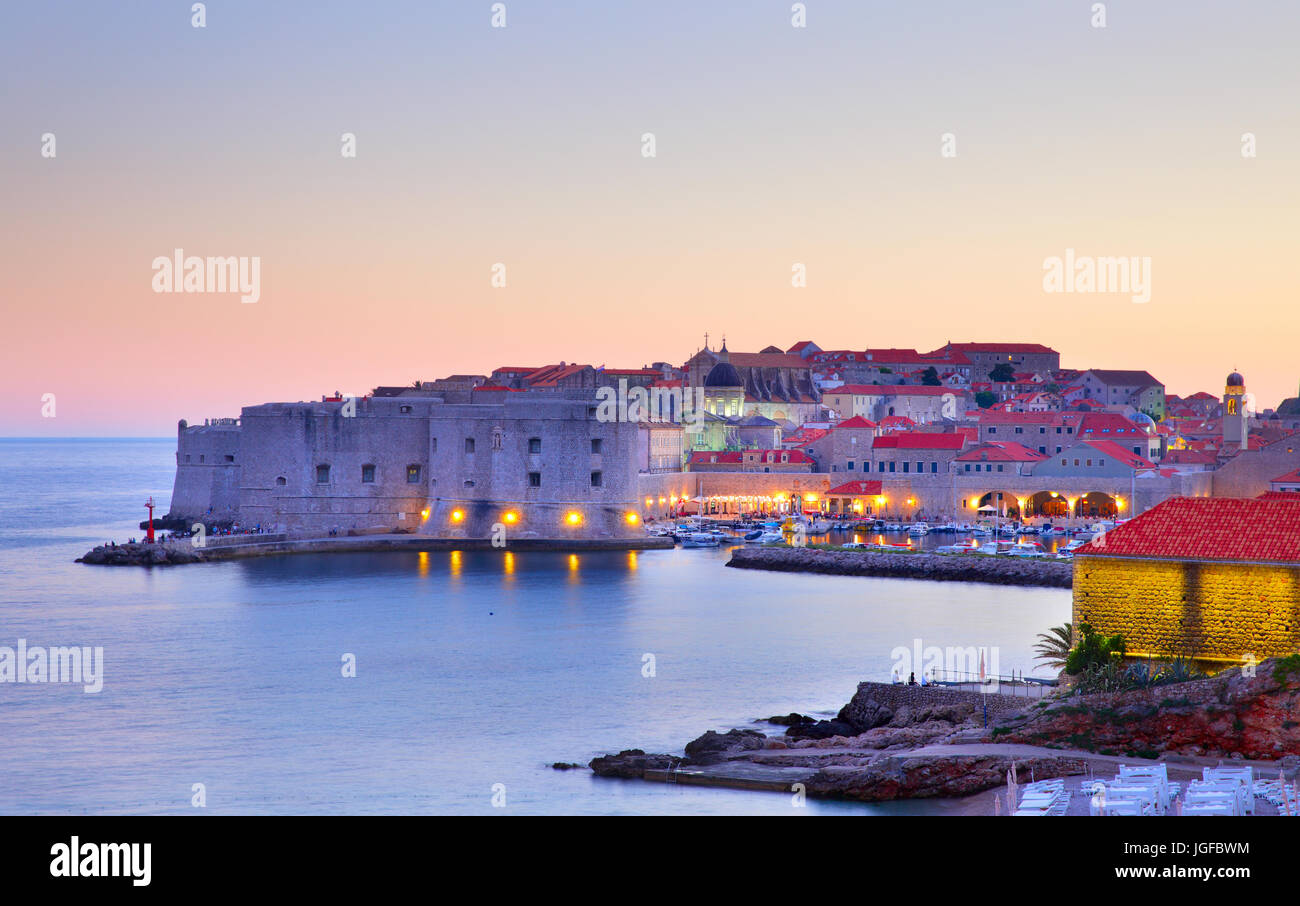 Old town of Dubrovnik at sunset, Croatia Stock Photo