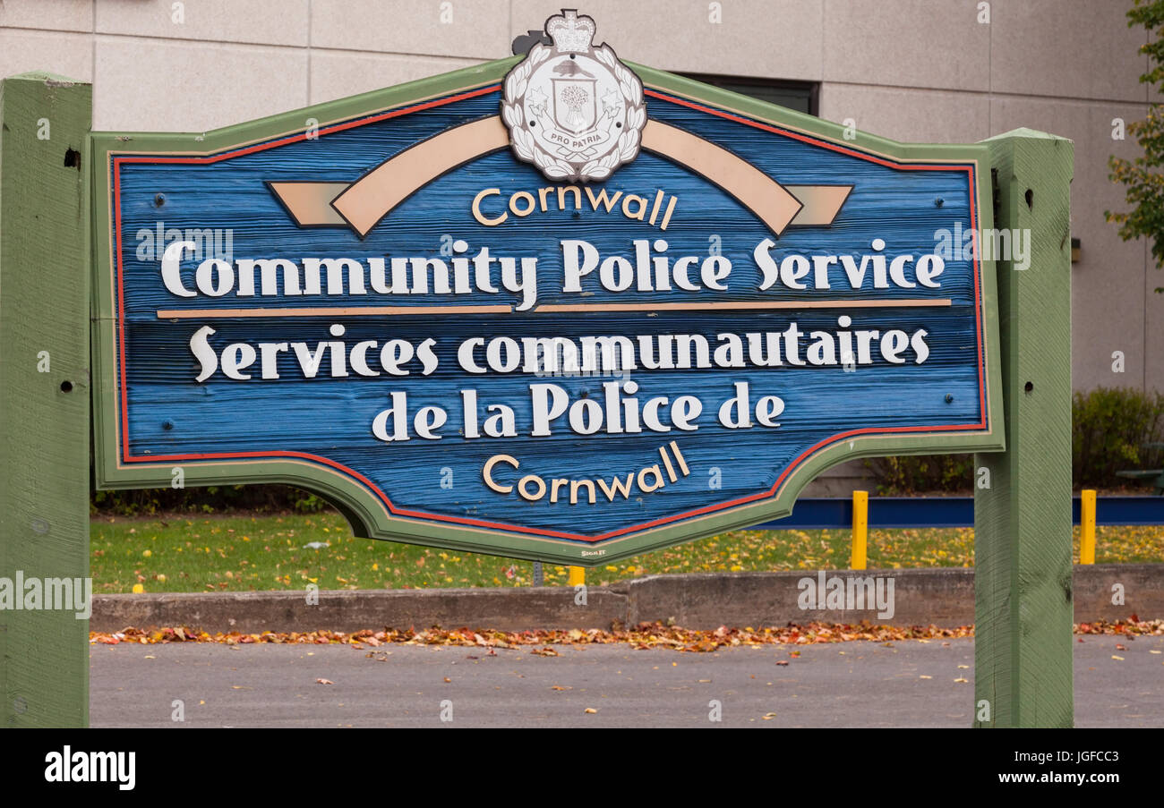 A sign for the Cornwall Community Police Service along Pitt Street in Cornwall, Ontario, Canada. - Stock Image