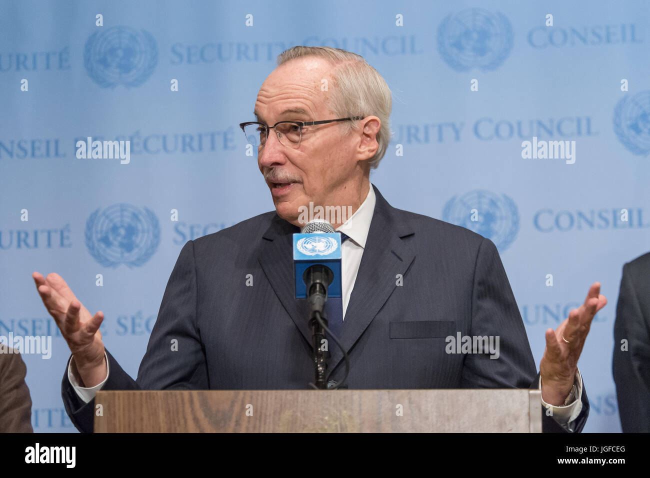 New York United States 06th July 2017 Following Security Council Meccanism Long Syiria Consultations On Syrias Alleged Use Of Sarin Gas Edmond Mulet Head The Joint Investigative Mechanism Jim