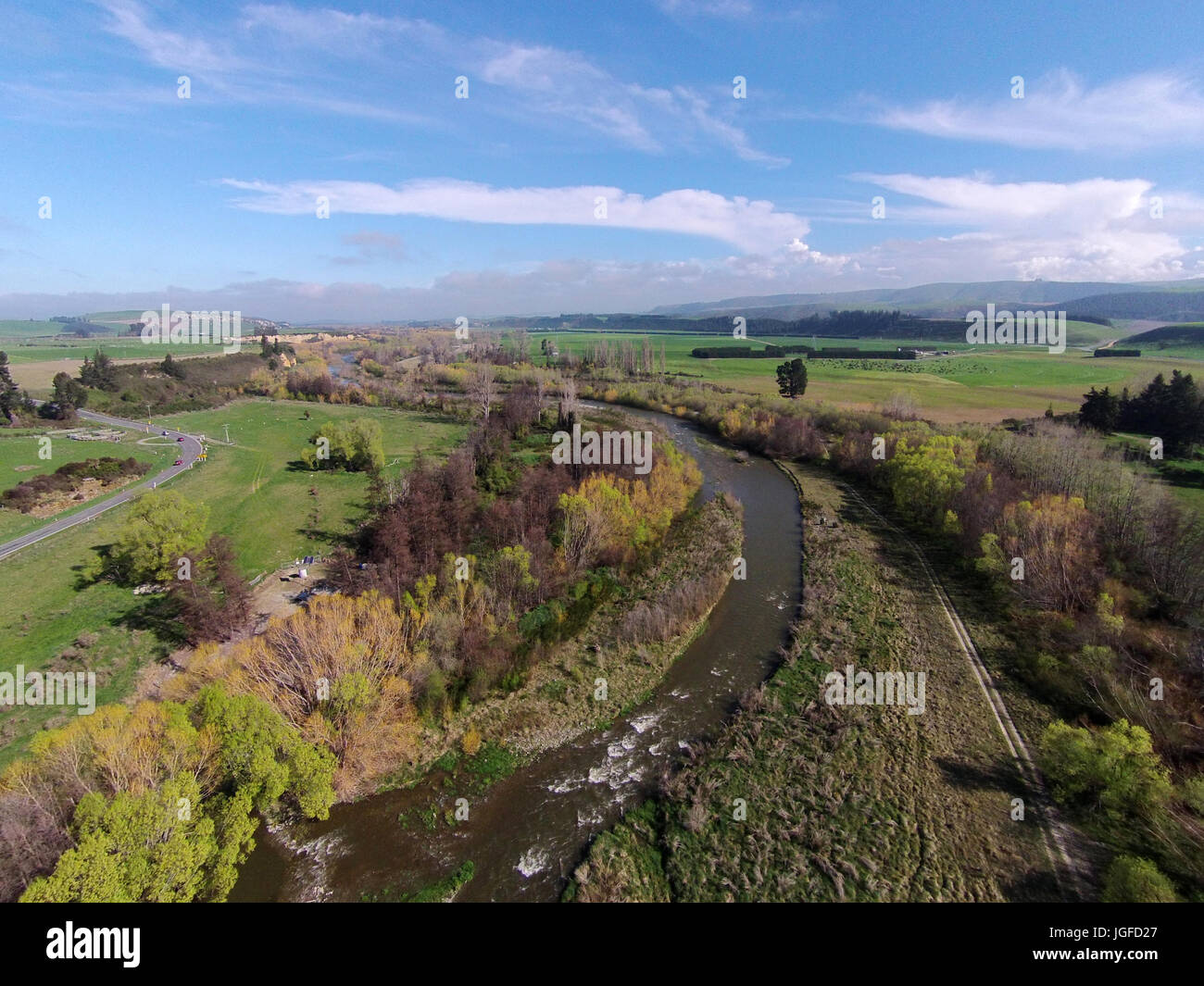 Opuha River, between Geraldine and Fairlie, South Canterbury, South Island, New Zealand - drone aerial Stock Photo