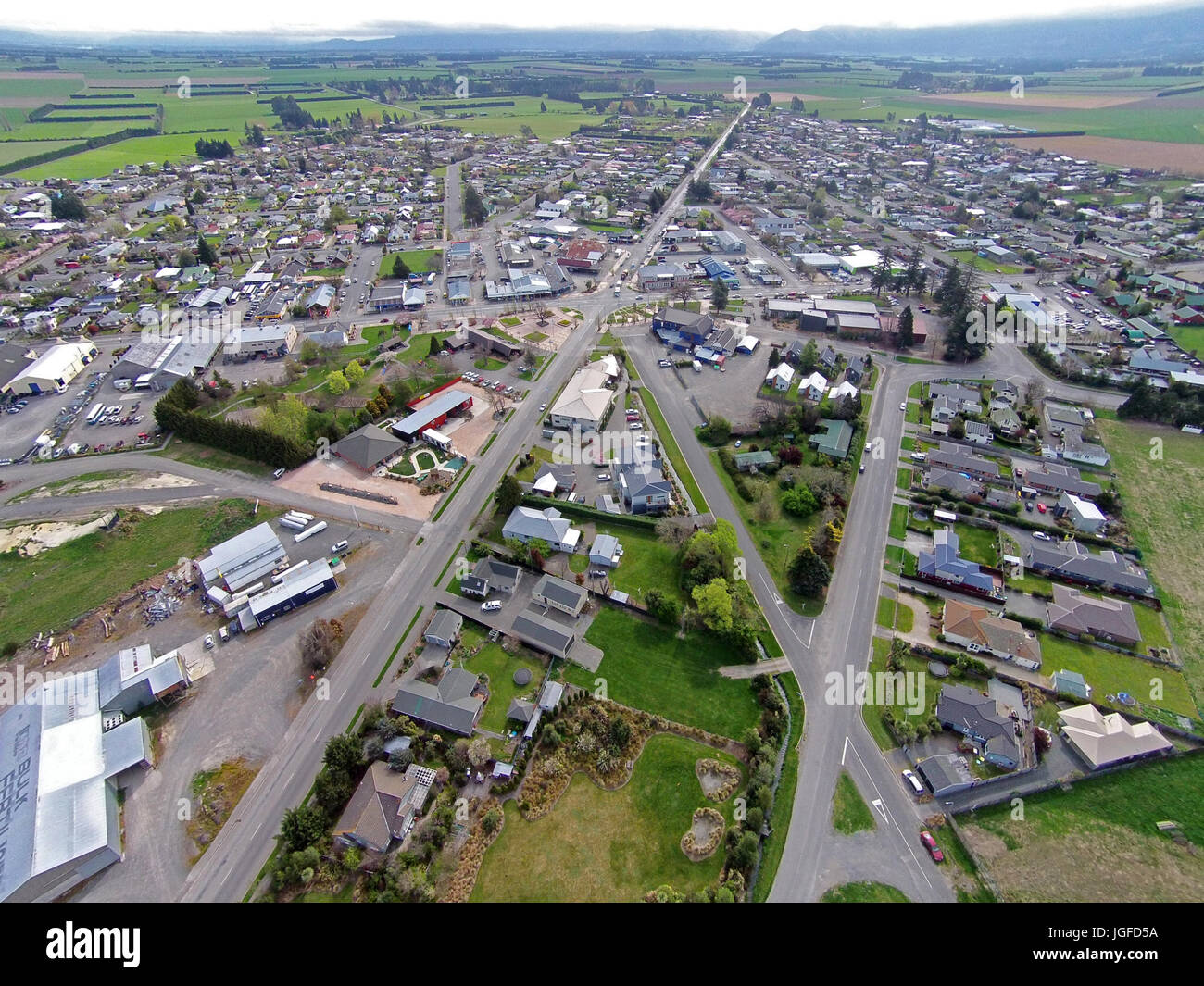 Methven, Mid Canterbury, South Island, New Zealand - drone aerial Stock Photo
