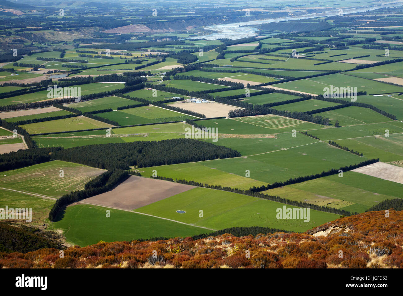 Canterbury Plains and Rakaia River seen from Mount Hutt, Mid Canterbury, South Island, New Zealand - Stock Image