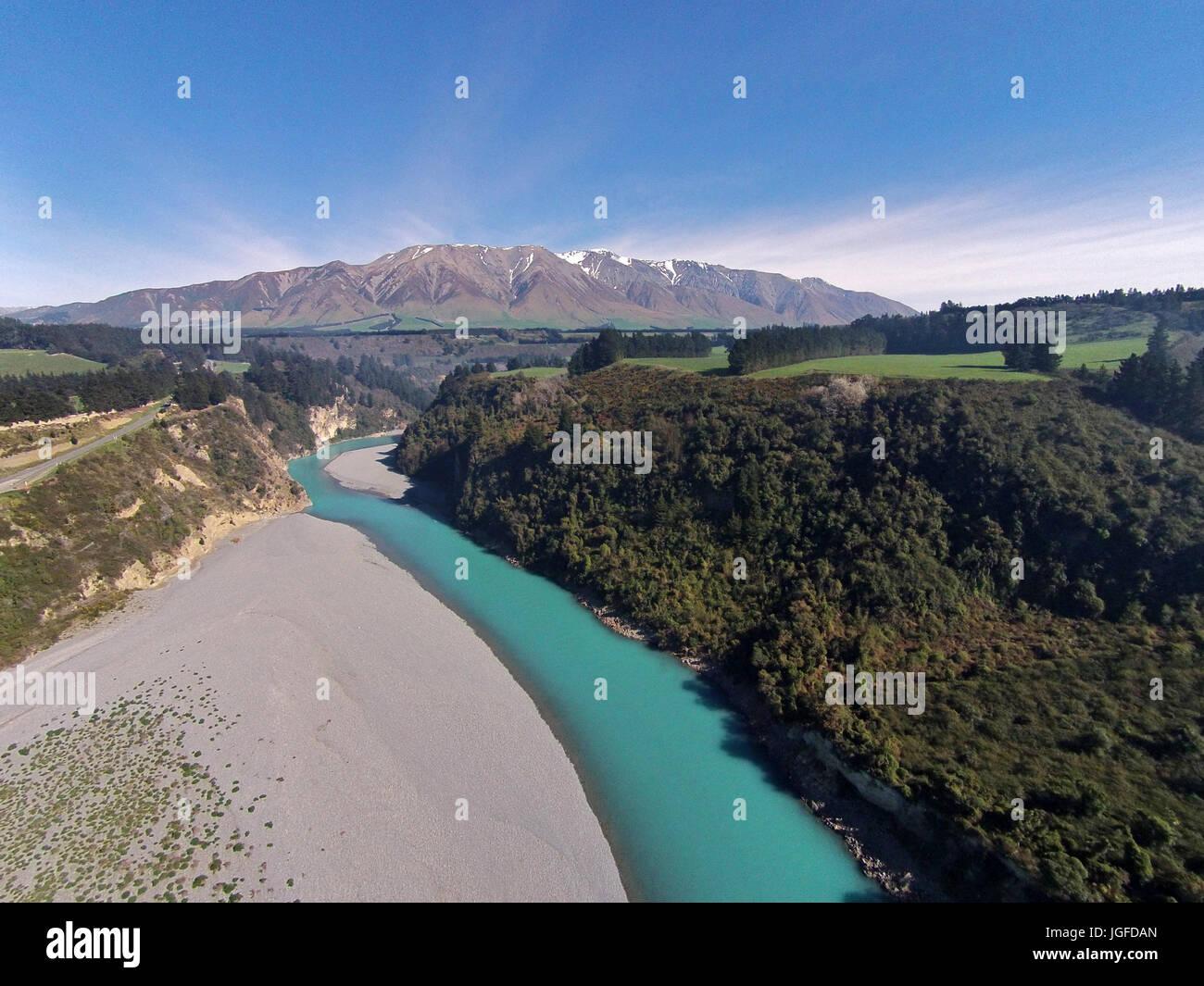 Mount Hutt Range, Rakaia River, and Rakaia Gorge, Canterbury, South Island, New Zealand - drone aerial Stock Photo