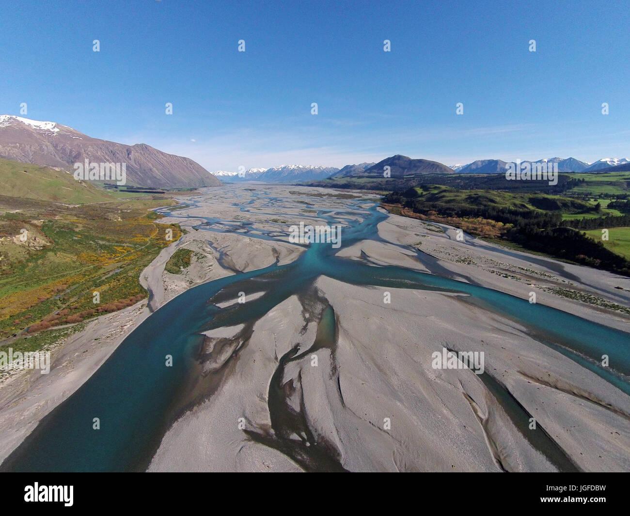 Braided streams of the Rakaia River, Canterbury, South Island, New Zealand - drone aerial Stock Photo