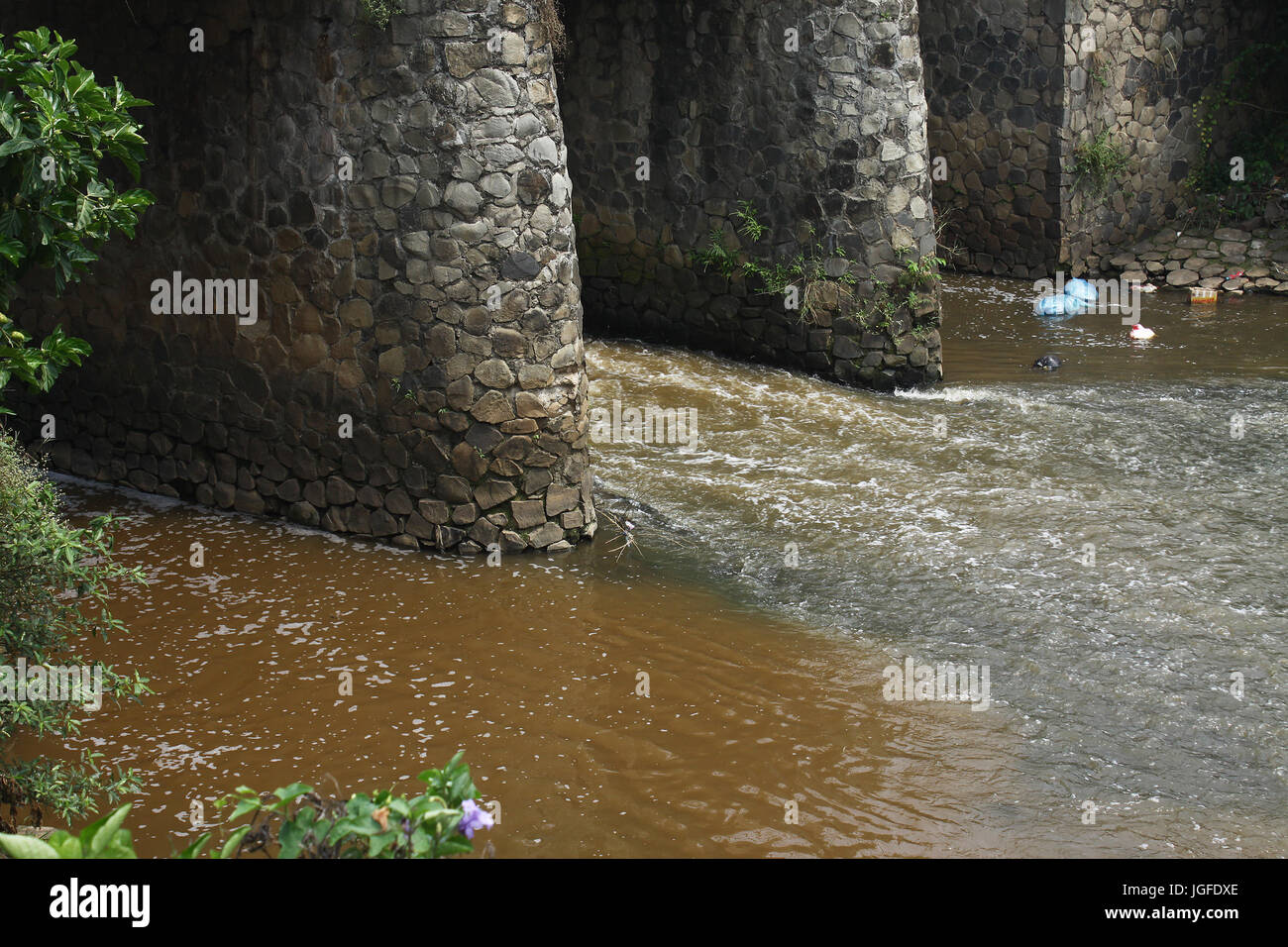 Scenery of a number of rivers in Bekasi, West Java contaminated with hazardous wastes on Thursday, July 6, 2017. - Stock Image
