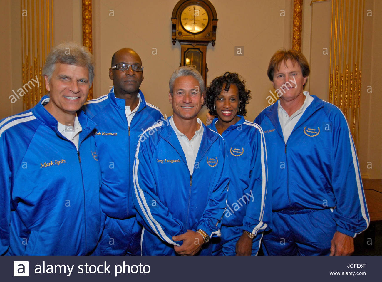 Mark Spitz, Bob Beamon, Greg Louganis, Jackie Joyner-Kersee and Bruce Jenner attend the ringing in a new era in - Stock Image