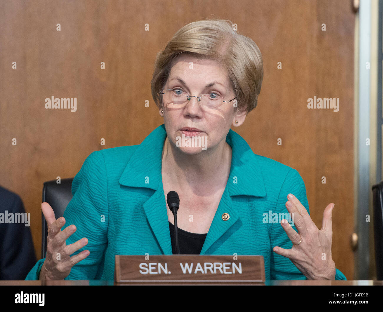 United States Senator Elizabeth Warren (Democrat of Massachusetts) attends a hearing of the US Senate Committee Stock Photo