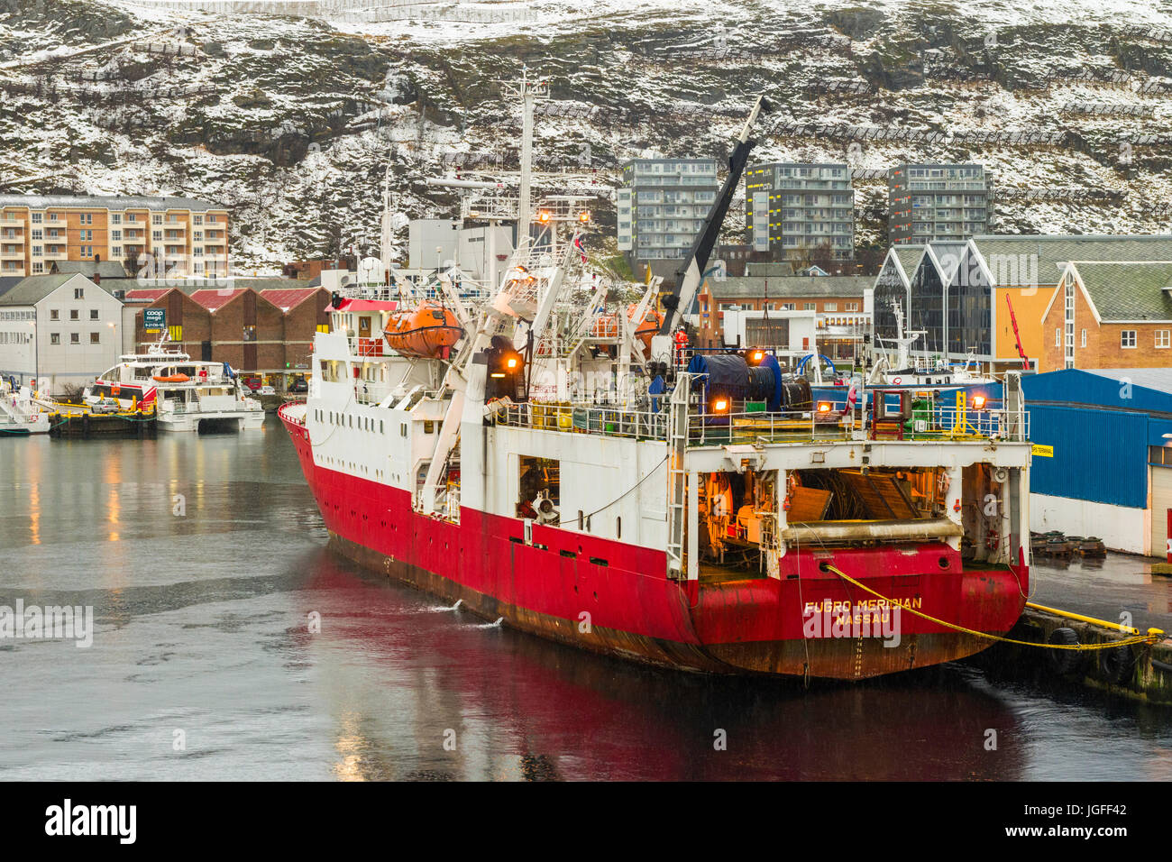 Research survey vessel Fugro Meridian moored at the port of Hammerfest, Finnmark County, northern Norway - Stock Image