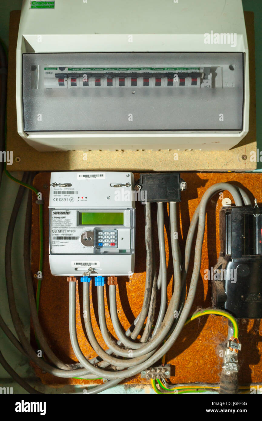 A brand new smart electricity meter in the Uk - Stock Image